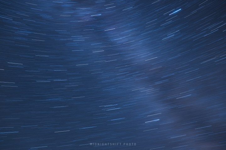 A long exposure of some star trails above the White Mountains in New Hampshire.