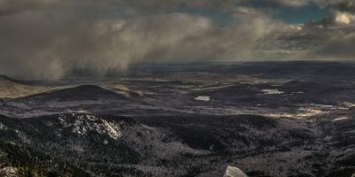 Sweeping snow on Mount Chocorua