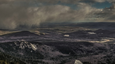 Sweeping snow on Mount Chocorua