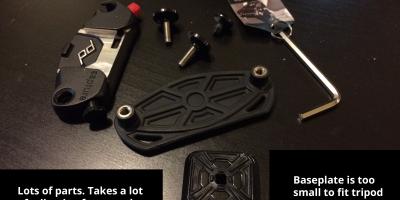 the peak design capture camera clip, in pieces.
