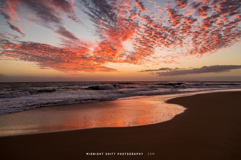 Sunset at Kekaha Beach. Island of Kauai, Hawaii