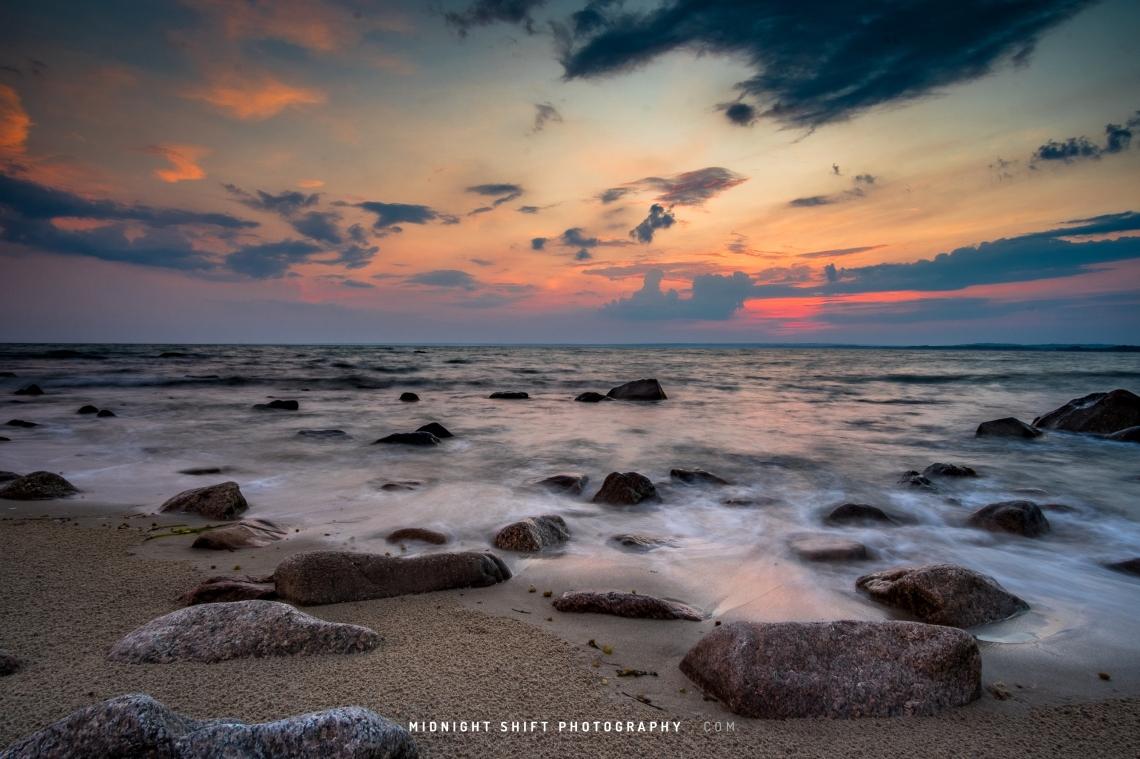 Sunset at Gooseberry Island. Westport, Massachusetts.