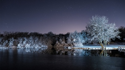 Snowy night in Adamsville, Rhode Island