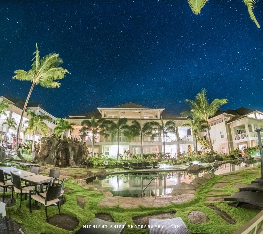 Stars shine bright above Poipu Beach on the island of Kauai, Hawaii