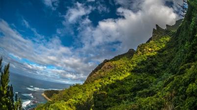 The Nā Pali Coast as seen from the Kalalau Trail on the island of Kauai, Hawaii.