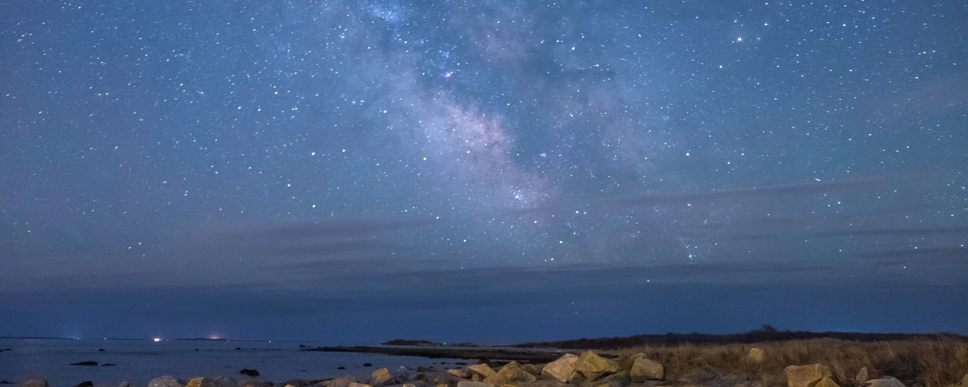 The Milky Way Galaxy over Gooseberry Island in Westport, Massachusetts.