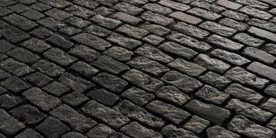 A cobblestone road in New Bedford, Massachusetts