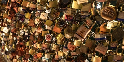 Love locks on a fence in Portland, Maine.